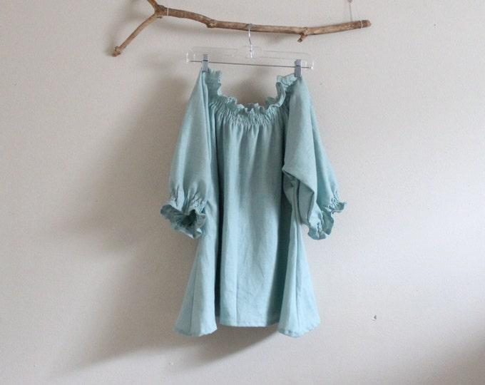 vintage light blue relaxed shirring linen top / made to order / oversized top / plus size linen top / smocked linen blouse / womens clothing