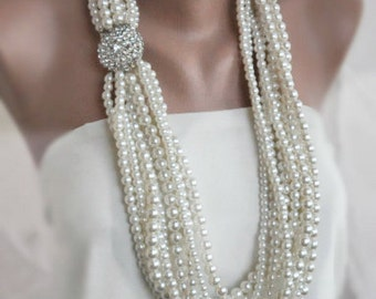 Strands Brooch Necklace, Handmade Weddings Multi Strand Pearl Necklace brides, Ready to ship