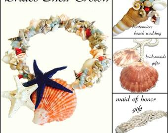 7 Pieces Beach Weddings Set, mermaid crowns shell necklace crown bridal crown ,brides head piece,