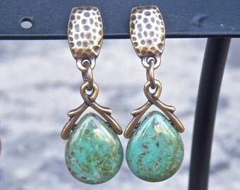Earrings - Picasso Czech Glass Drops and Hammered Brass - Teal earrings