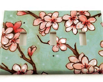 Decorative Switch Plate Wall Decor Triple Switchplate Light Switch Cover  in  Watercolor Blossoms  (170T)