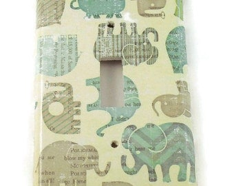 Nursery Wall Decor Light Switch Cover  Switch Plate Switchplate in  Blue Ellie (127S)