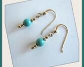 Kingman Turquoise  Earrings Beaded,  Dangle 14 KGF, Gemstone Earrings, Turquoise Earrings, Jewelry Accessories,   Fishhook style Earwires