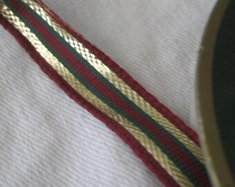 Spool of Burgundy Gold Foil & Green Wired Yardage Millinery Ribbon Trim