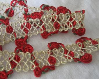 1 yd VINTAGE Red Flower Gold Metallic Sewing APPLIQUE Trim