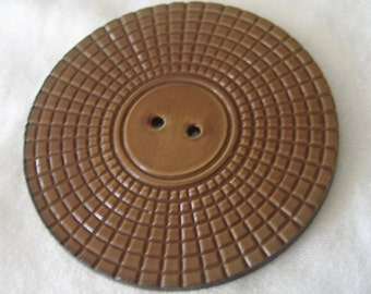 Very Large VINTAGE Tan Brown Carved Look Wafer Celluloid Coat BUTTON
