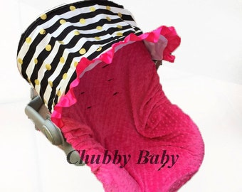 Infant CarSeat Cover, Baby CarSeat Cover in Black/ white stripes with gold dots,& hotPink minky seat cover, ruffle and embroidery optional