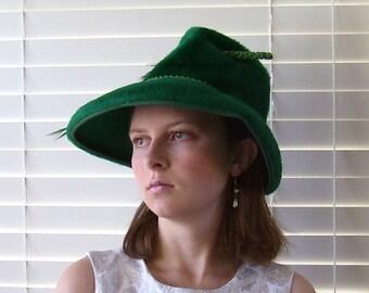 Vintage Ann Marie Green Faux Fur Fedora