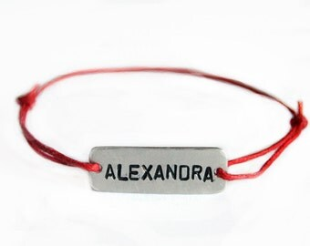 Name Bracelet, Engraved Bracelet, Monogram Bracelet, Aluminum,  with Adjustable Thin Cotton Cord, Handmade, Gift, Family