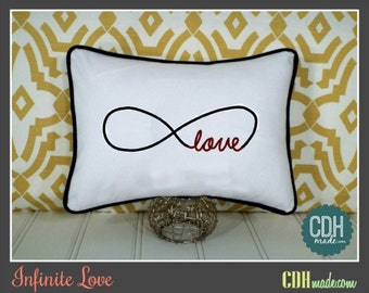 Infinite Love Embroidered Pillow Cover - Choose Your Colors - 12 x 16
