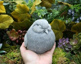 Concrete Bird Statue - Sleepy Fat Bird Garden Sculpture