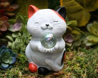 Maneki Neko Cat Statue Holding Wishing Ball - Lucky Fortune Cat - Money Cat - Welcoming Cat - Outdoor Concrete Art Decor