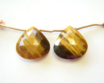 Large Tigers Eye Faceted Hearts - Pair - 16mm