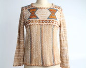 marled knit top | bell sleeve pullover jumper | vintage hippie sweater | S-M