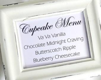 Cupcake Menu Wedding Sign -  White or Ivory