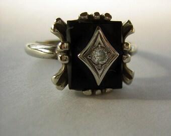 1920s Dinner Ring Diamond Onyx White Gold Deco Setting - Downton Abbey Era - Size 6