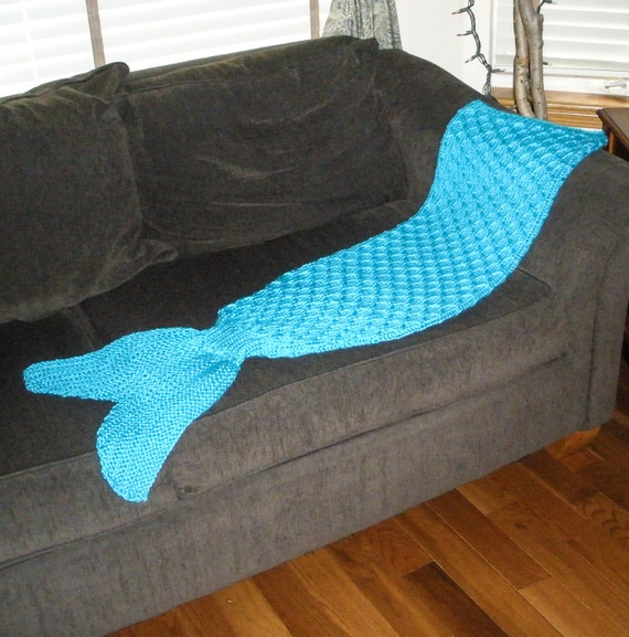 Knitting Pattern For Baby Mermaid Blanket : Adult Mermaid Tail Lapghan Cocoon or Blanket Knitting by 4aSong