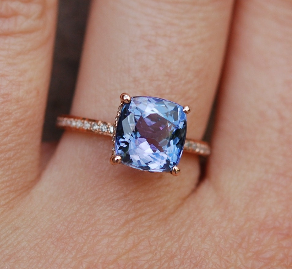 tanzanite ring rose gold engagement ring lavender blue tanzanite cushion cut engagement ring. Black Bedroom Furniture Sets. Home Design Ideas