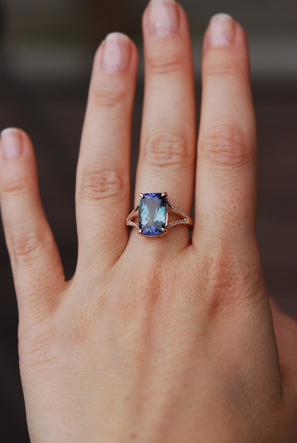 tanzanite ring rose gold engagement ring lavender mint tanzanite cushion cut halo engagement. Black Bedroom Furniture Sets. Home Design Ideas