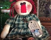 Primitive Raggedy Annie doll, home decor, rustic, farm house, homespun dress, Hafair; OFG; MHA; TeamHAHA; ADO; Haguild; Norga; Nooga Ellijay