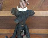 Primitive Grungy Holiday Bear holding deer by Starry Nites Farm; Hafair; OFG; mha; ADO; Haguild; Norga; Nooga; CIJ TeamHAHA