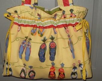 Sandals hobo gypsy knitting crochet beach bag tote boho diaper handbag chic shabby drawstring