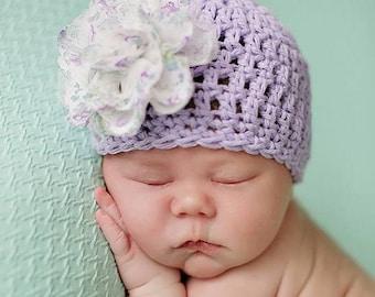 Baby Girl Easter Hat, Newborn Girl Flower Hat, Baby Girl Summer Hat, Cotton Baby Hat, Infant Girl Spring Hat, Baby Flower Beanie,  Purple