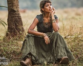 CHERISE LINEN SKIRT - Steampunk Bohemian Burning man Hippie Boho Tribal Steam punk Belly Dance Fairy Ethnic Gypsy - Green