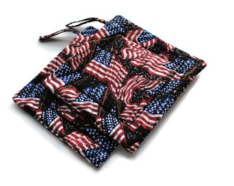 Handmade Quilted Pot Holders Set of 2  Waving American Flag on Black Americana