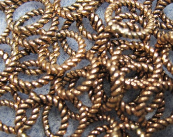 20 8mm Antique Copper Twisted Soldered Closed Jump Rings 16 ga