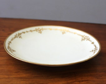 Golden Leaves. 1920s Bavaria hand painted porcelain plate.