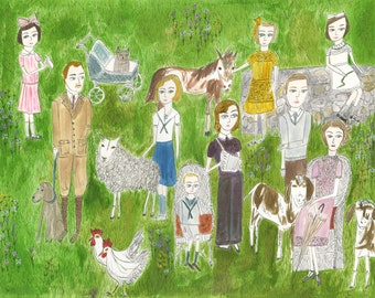 The Darling family at their country estate. Limited edition print by Vivienne Strauss.