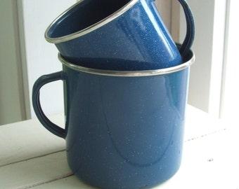 2 Vintage Blue Spatterware Graniteware Speckled Enamel Coffee Cups Mugs