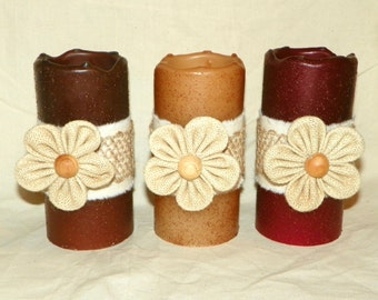 LED TIMER PILLAR 6 Inch Candles, Battery Operated Candle with a Burlap Flower on a Textured Candle, Great Night Light, Centerpieces