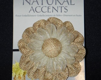 Burlap Daisy with a Large Burlap Center 4 Inch, an Elastic Band to Easily Add to Jars or Cut to Glue to Bags, Frames, Sew on to Pillows