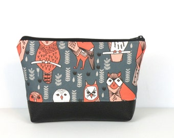 Owl Cosmetic, Faux Leather Bottom bag, Personal travel bag, Zipper Pouch, Vinyl Bottom, Laminated lining, Makeup Organizer, Canvas clutch