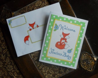 Mail Art Baby Fox Card and matching Envelope