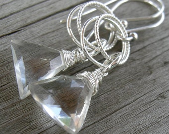 Rock Quartz Trillion Silver Wire Wrapped Earrings