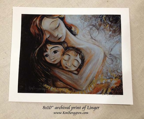 Linger, mother with two children, gold & brown tones, archival print