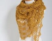 Crochet shawl , Mustard, Dark Yellow,  N333