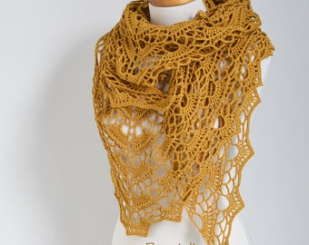 Crochet shawl , Mustard, Dark Yellow,  N333