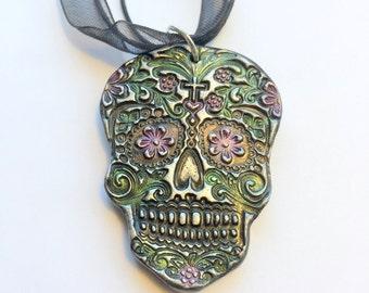 Sugar Skull Necklace-Handmade Black Sugar Skull Day of the Dead Pendant Cord Necklace