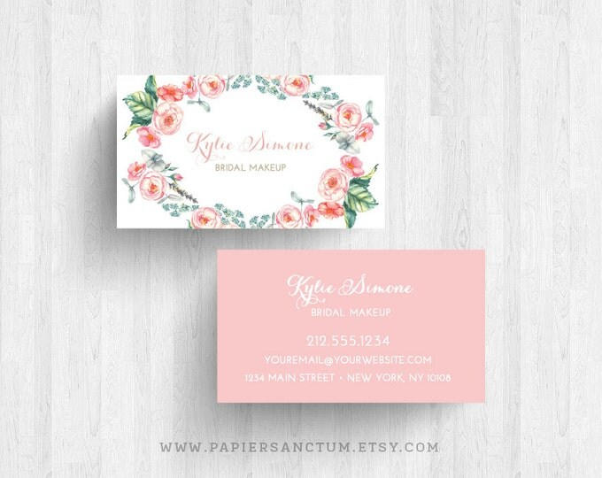 Featured listing image: 250 or 500 Custom Floral Business Card Calling Cards Bridal Makeup Artist Cards