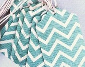 Teal Chevron / Polk-dot Gift Tags Large - Pack of 15
