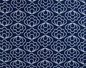 "Navy Blue and White Valance - 50"" x 16"" - Cloud 9 Organic Time Warp Ripple Navy Fabric-"