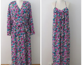 80s Mary McFadden Designer Maxi Nightgown and Matching Robe Set, Size M,L,XL