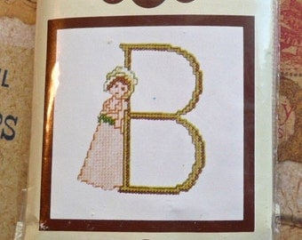 Vintage Kate Greenaway Letter B Embroidery Monogram Kit - Lanarte from Belgium