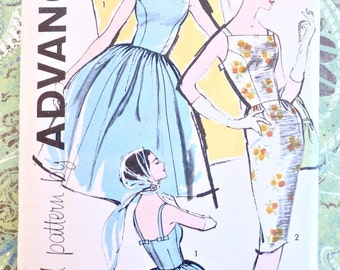 Vintage 1960s Womens Dress Pattern with Full or Slim Skirt Pattern - Advance 9583