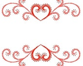 Heart Swirl Border Label Frame Paper Embroidery Pattern for Greeting Cards