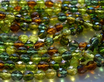 Green and Brown Medley 8mm Faceted Fire Polish Round Czech Glass Beads  25